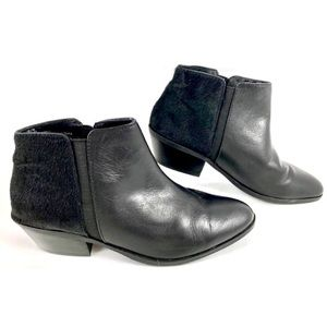 Black Leather Ankle Boots with Faux Fur Accents
